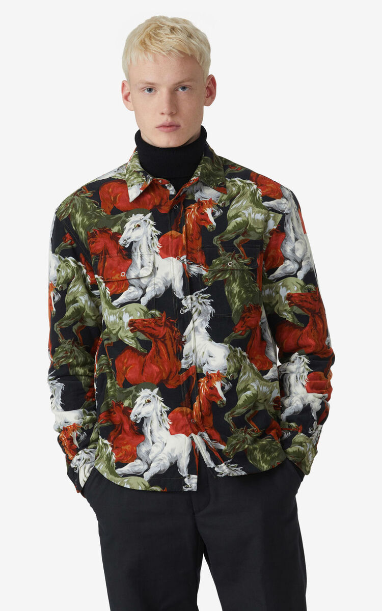 MEDIUM ORANGE 'Chevaux KENZO' overshirt for men