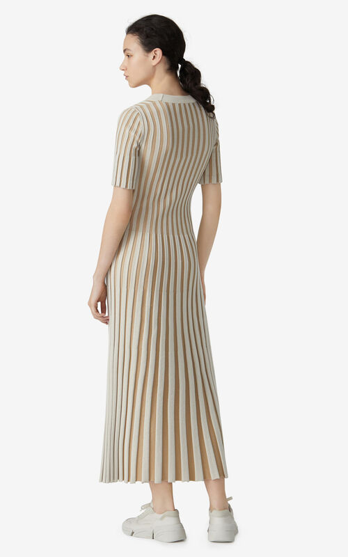DARK BEIGE Long pleated dress for women KENZO