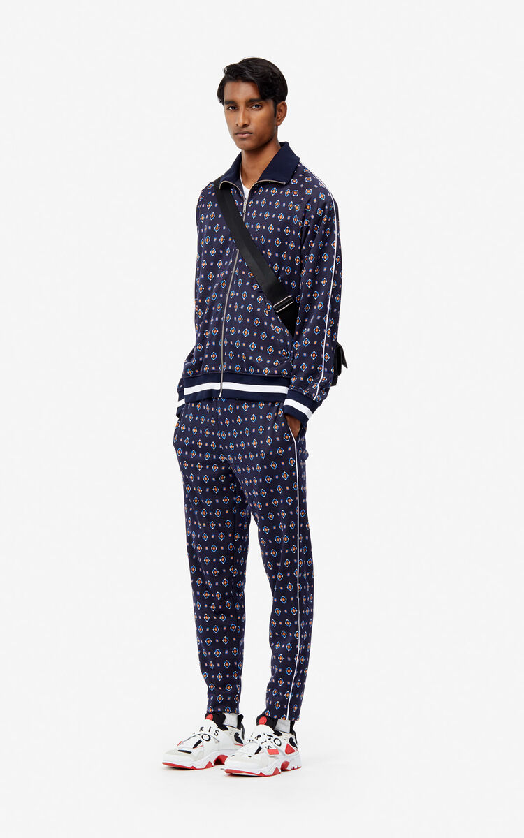 MIDNIGHT BLUE 'Médaillons' jacquard trousers for women KENZO