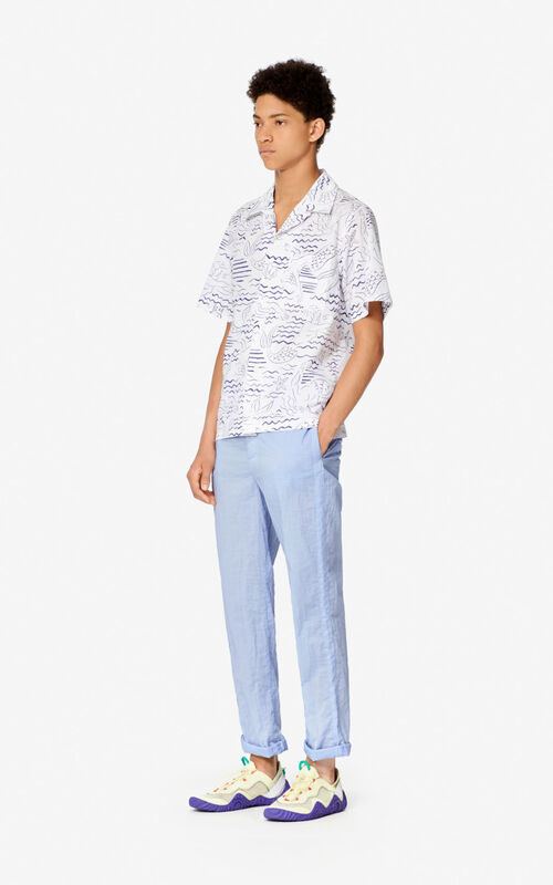 WHITE 'Waves Mermaids' casual shirt for men KENZO