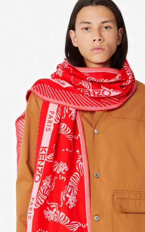 MEDIUM RED 'Jumping Tiger' wool scarf for women KENZO