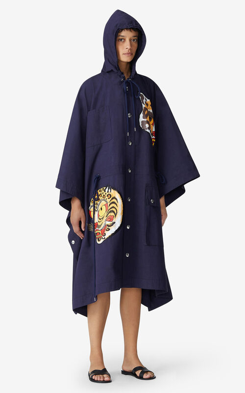 NAVY BLUE KENZO x KANSAIYAMAMOTO long cape for men