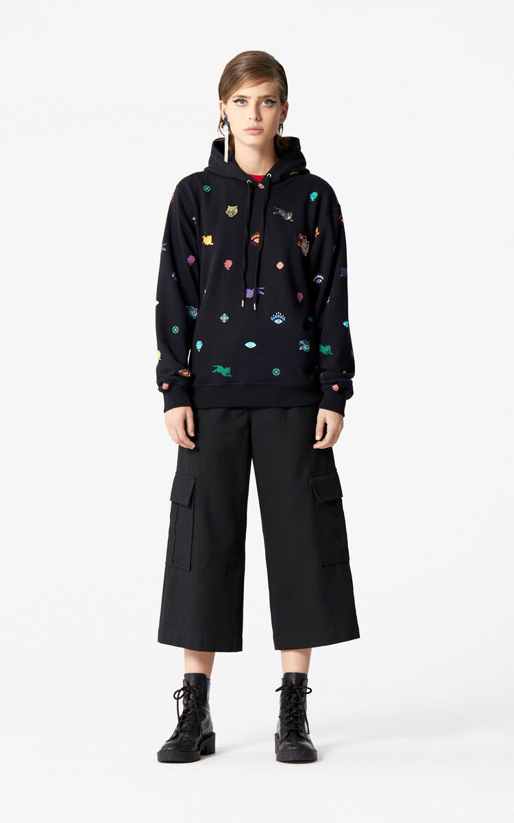 BLACK Hooded Sweatshirt 'Go Tigers Capsule' for women KENZO
