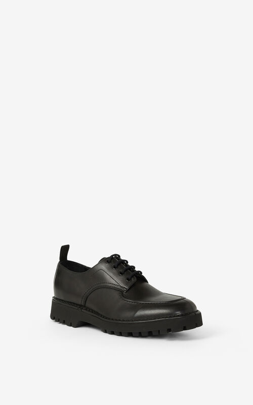 BLACK K-MOUNT leather derbies for unisex KENZO