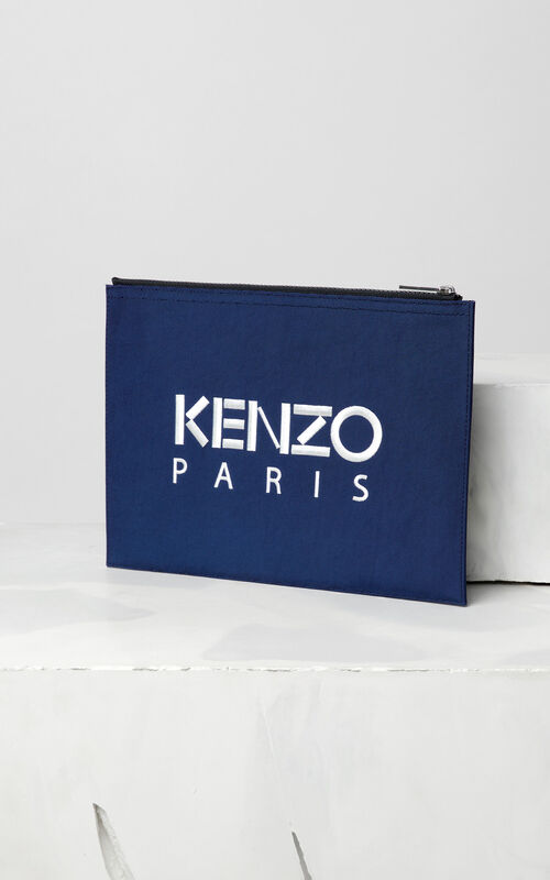 NAVY BLUE A4 Tiger Canvas clutch for men KENZO