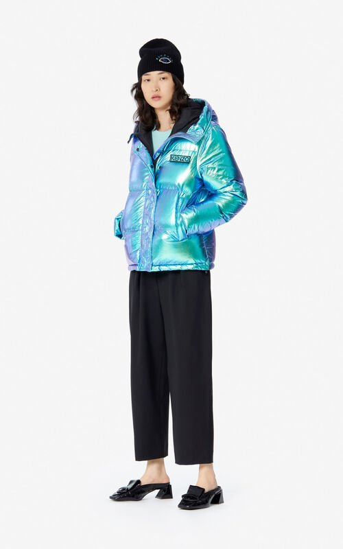 TURQUOISE 'Holiday Capsule' hooded quilted jacket for women KENZO
