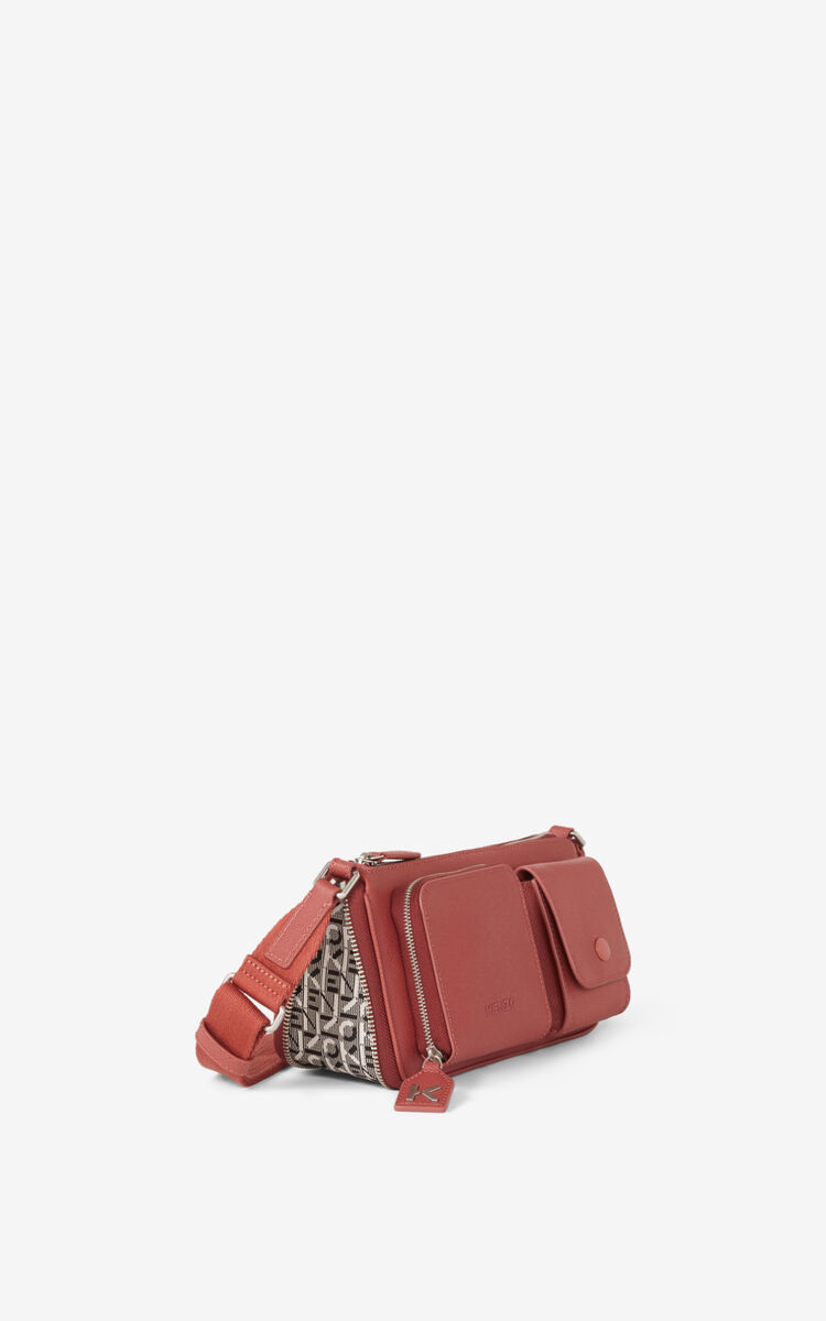 DARK ROSE Small KENZO Kompact grained leather shoulder bag for unisex