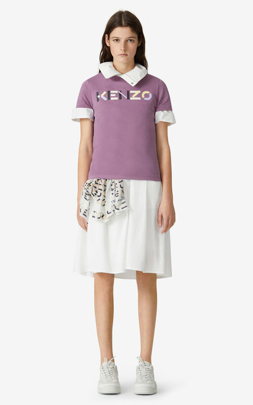 BLACKCURRANT KENZO t-shirt with multicoloured logo for women