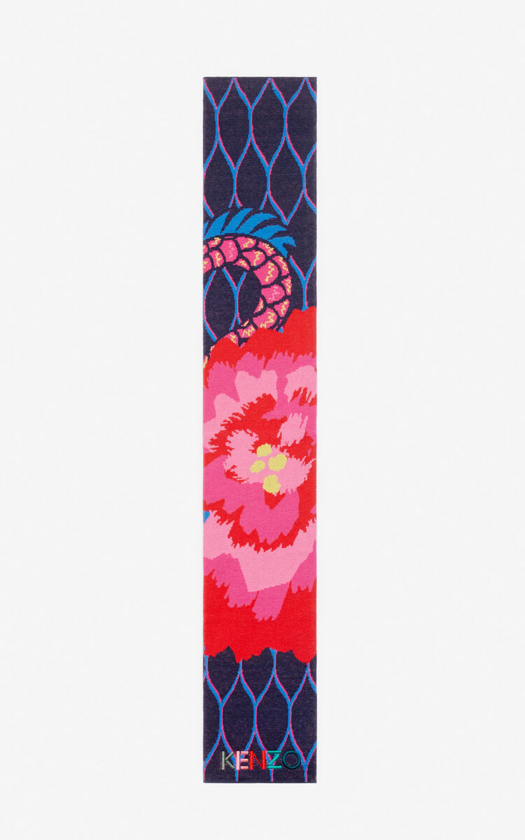 NAVY BLUE 'Japanese Flower' scarf for men KENZO
