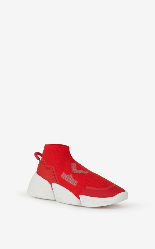 MEDIUM RED K-Sock K Logo laceless sneakers for unisex KENZO