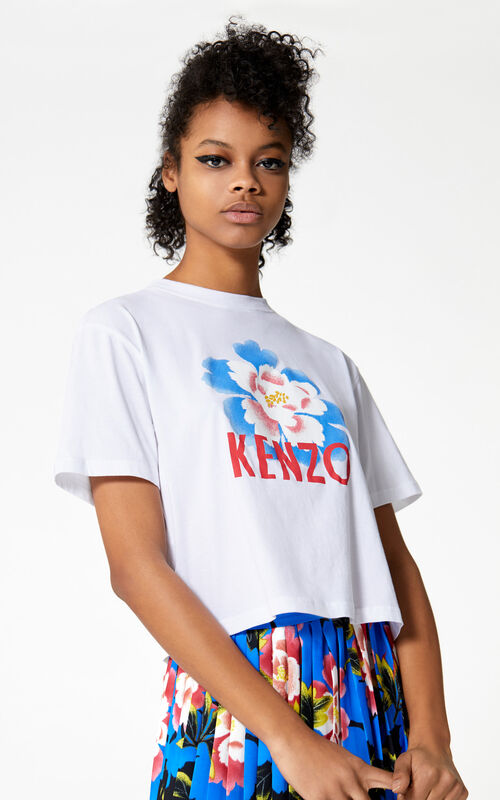 WHITE Boxy 'Indonesian Flower' t-shirt for women KENZO