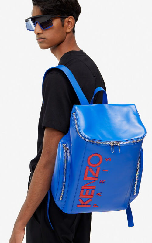 COBALT KENZO Logo leather Backpack for men