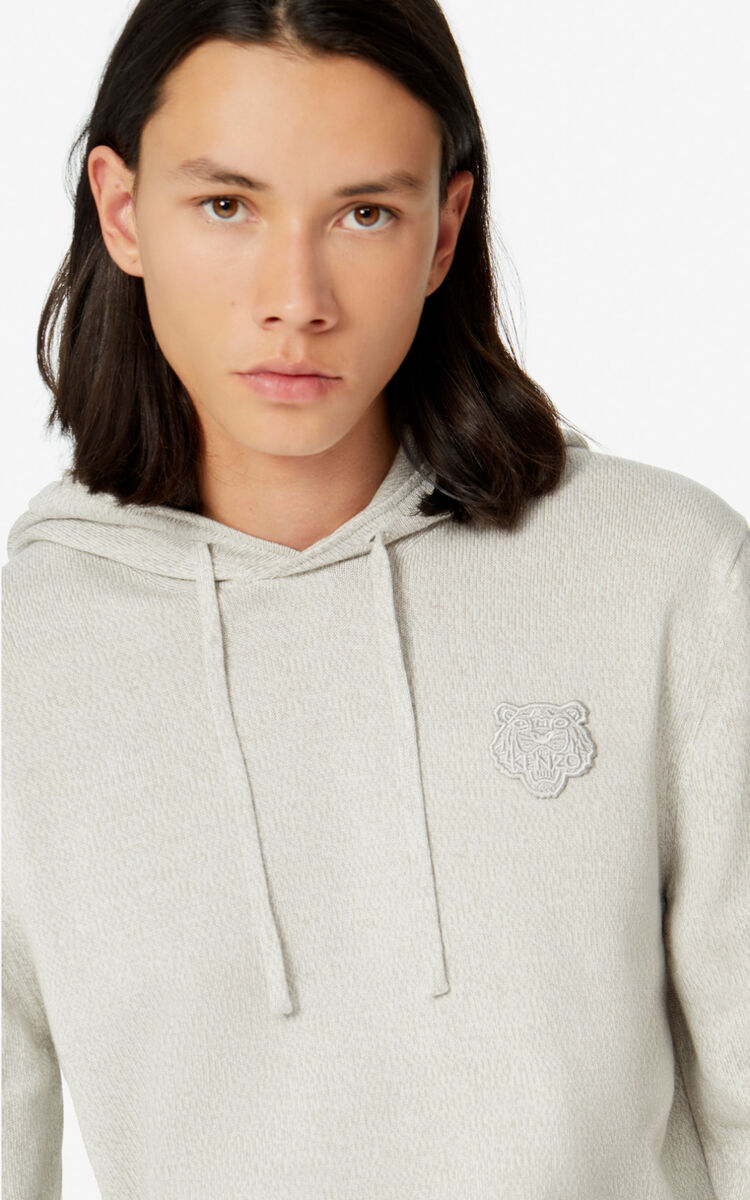 PEARL GREY Tiger hooded jumper for men KENZO