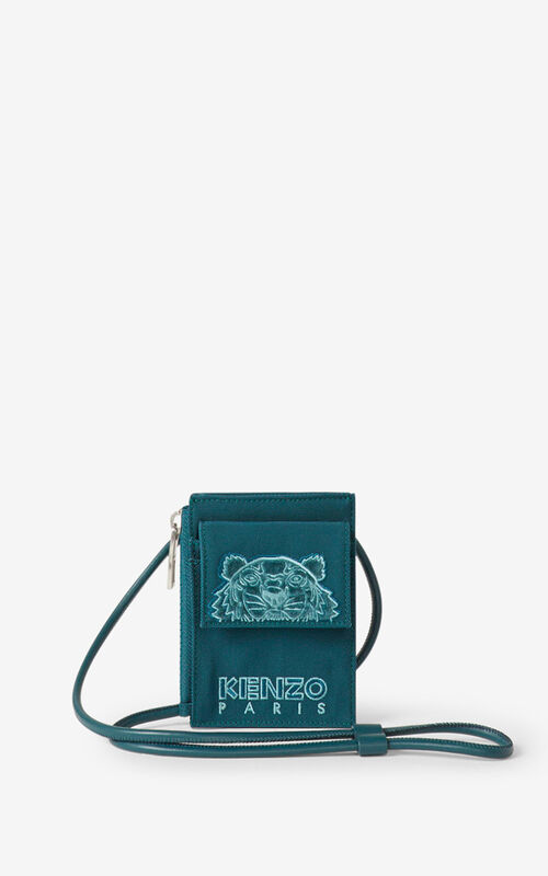 DUCK BLUE Kampus Tigre cardholder with strap for men KENZO