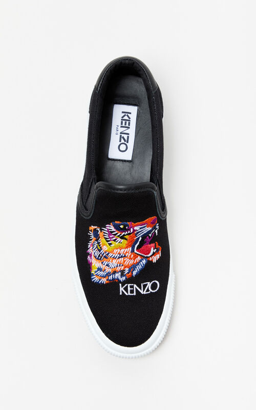 BLACK 'Tiger Head' Slip-on Trainers 'Go Tigers Capsule' for men KENZO
