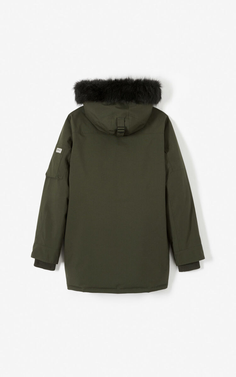 DARK KHAKI Long hooded parka for men KENZO