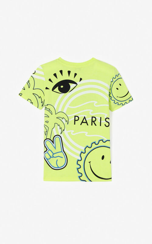 GOLDEN YELLOW Multi-icon 'Cali Party' T-shirt for men KENZO