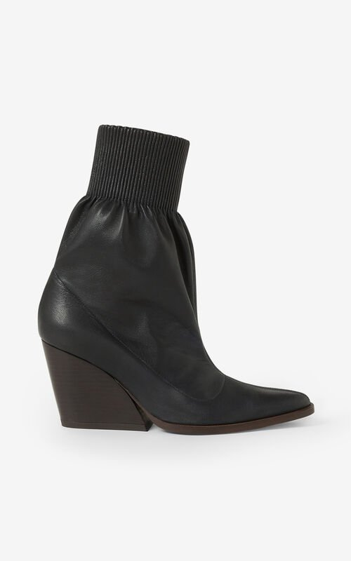 BLACK Billow leather ankle boots for men KENZO