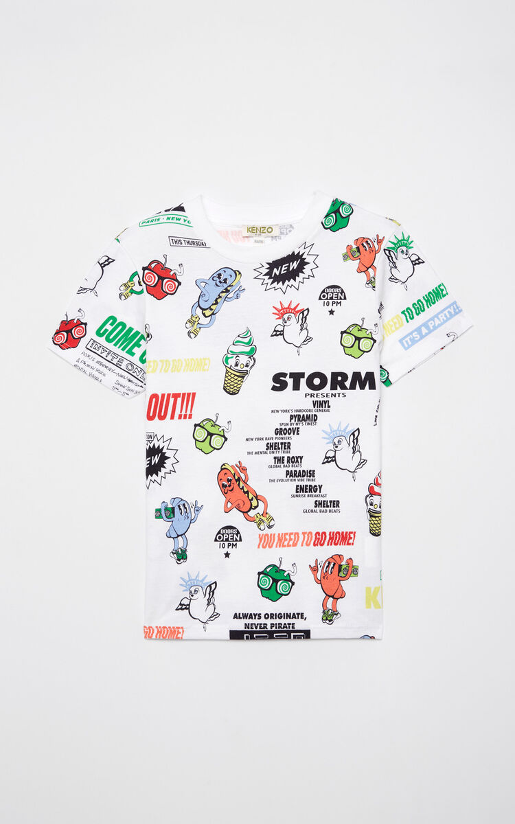 WHITE 'Food Fiesta' t-shirt for men KENZO
