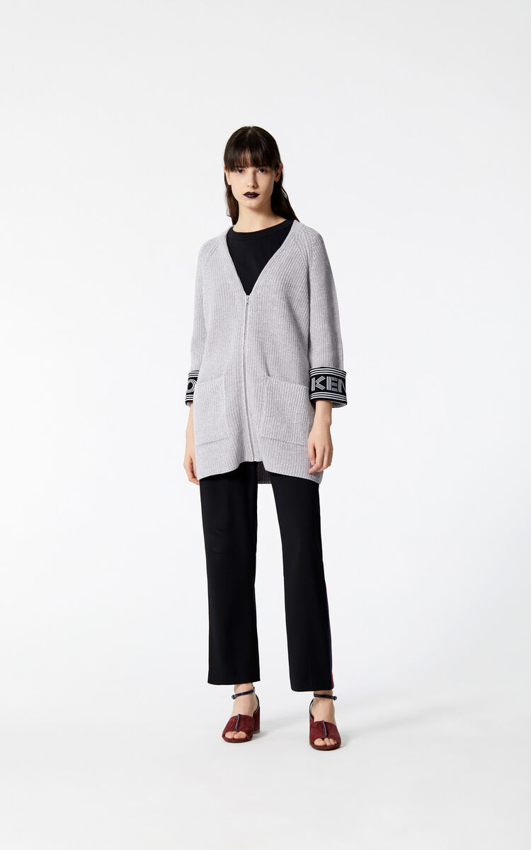 PALE GREY Longline Jacket KENZO Logo for women