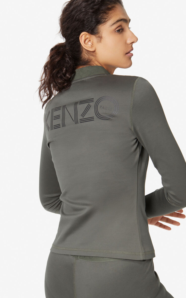 DARK KHAKI KENZO logo zipped jacket for women