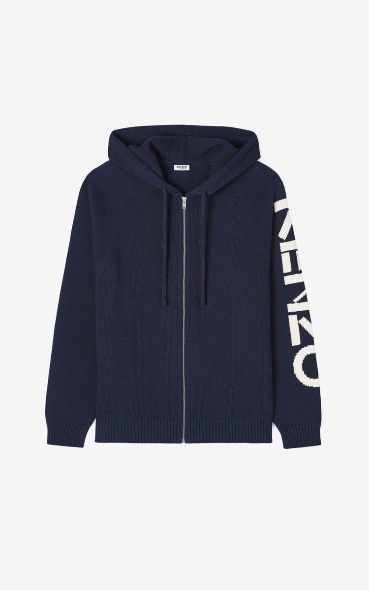 MIDNIGHT BLUE KENZO zipped cardigan for men