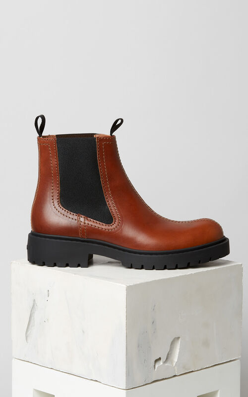 DARK CAMEL Chelsea Pike Boots for unisex KENZO