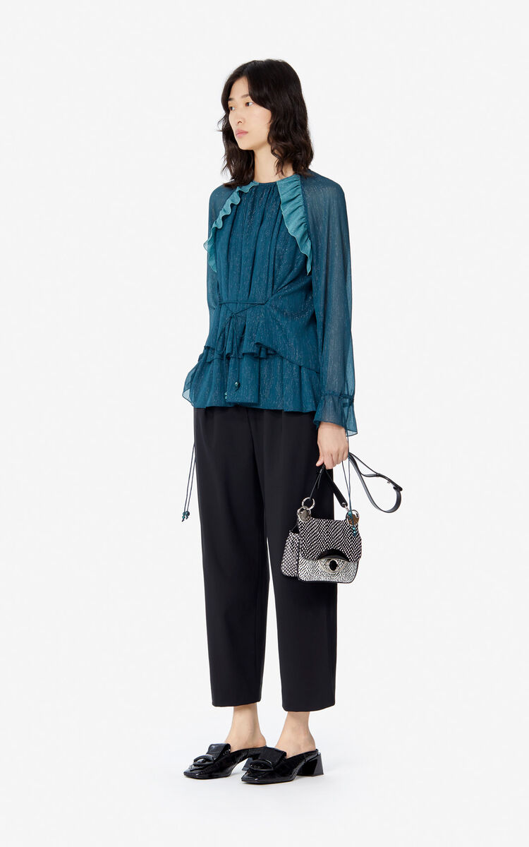 DUCK BLUE 'Holiday Capsule' frilled top for women KENZO