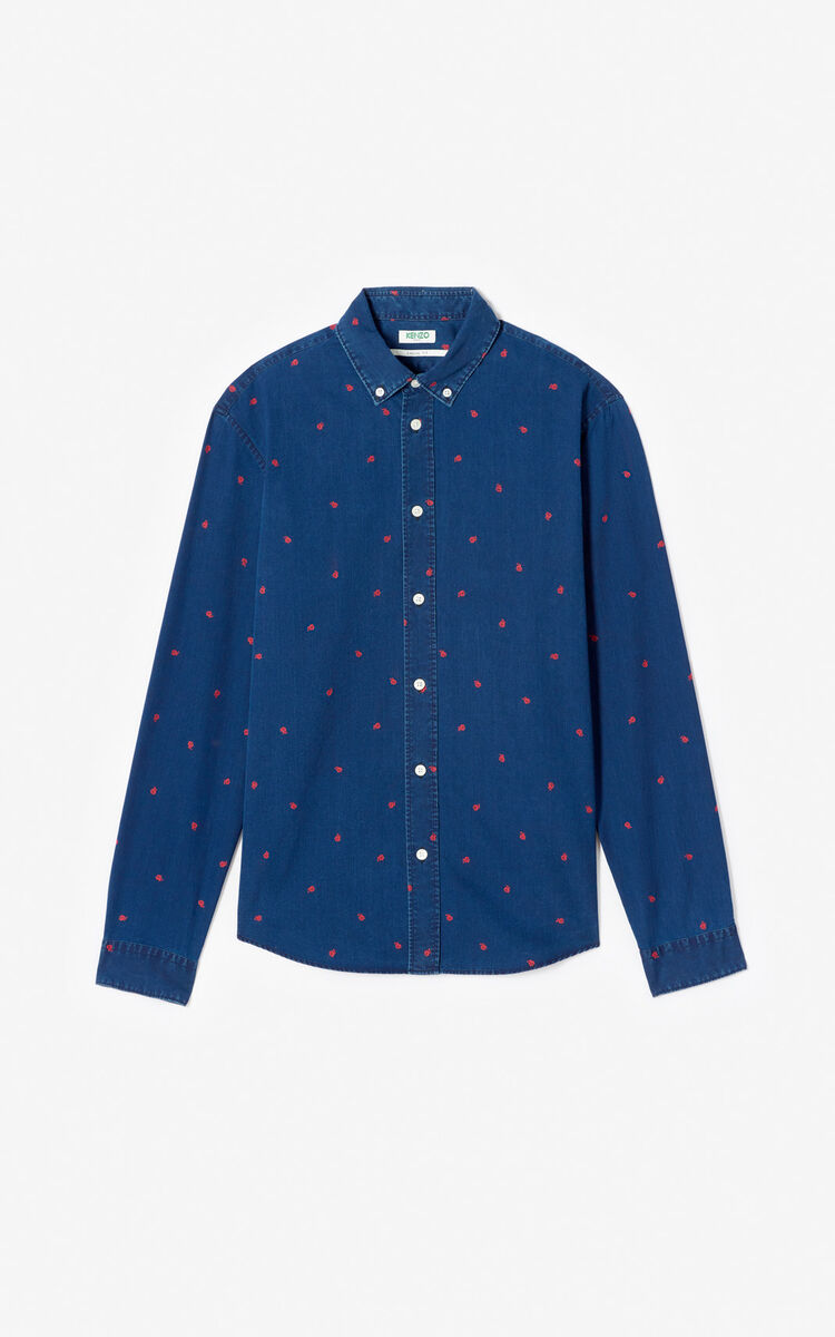 MIDNIGHT BLUE 'Roses' casual shirt for women KENZO