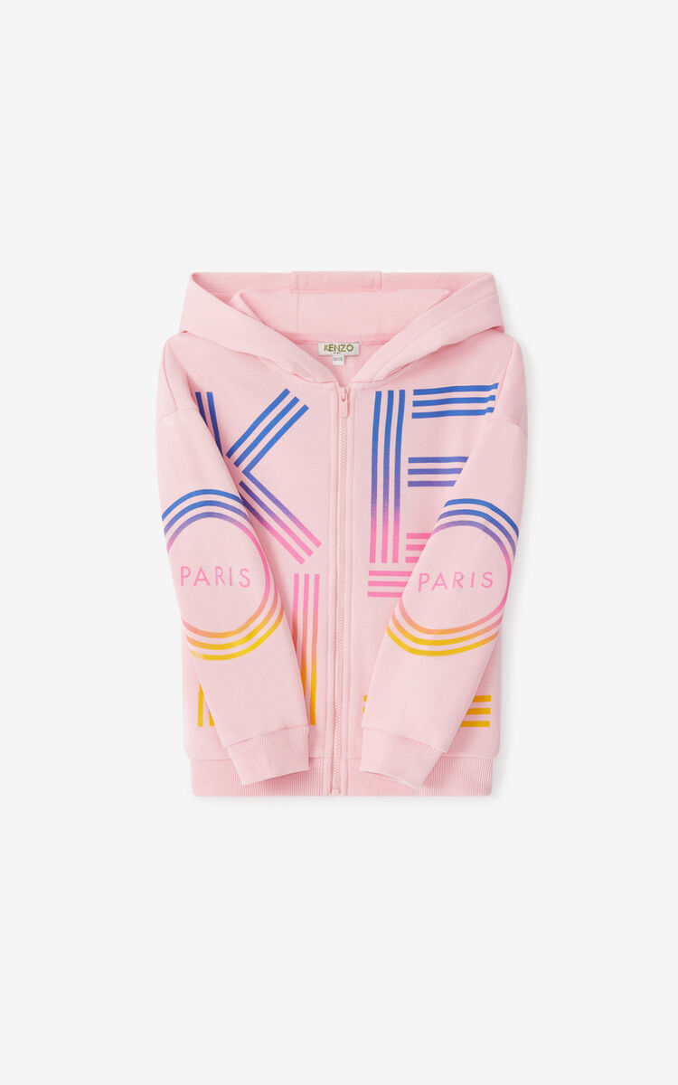 FLAMINGO PINK KENZO Sport hooded zip-up sweatshirt for men
