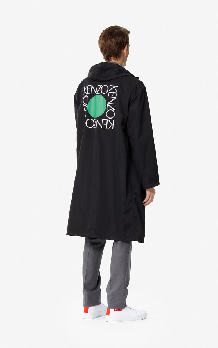 BLACK 'Square Logo' rain jacket for men KENZO
