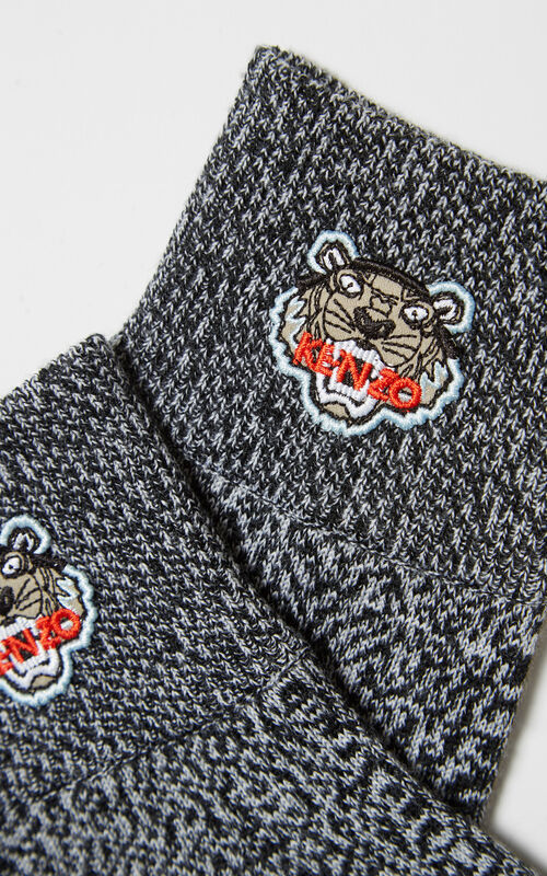 DARK GREY Tiger Crest Gloves for unisex KENZO