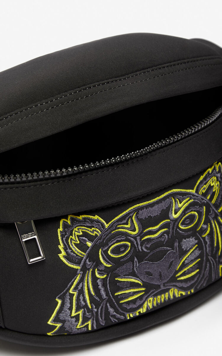 BLACK Neoprene Tiger bumbag for unisex KENZO