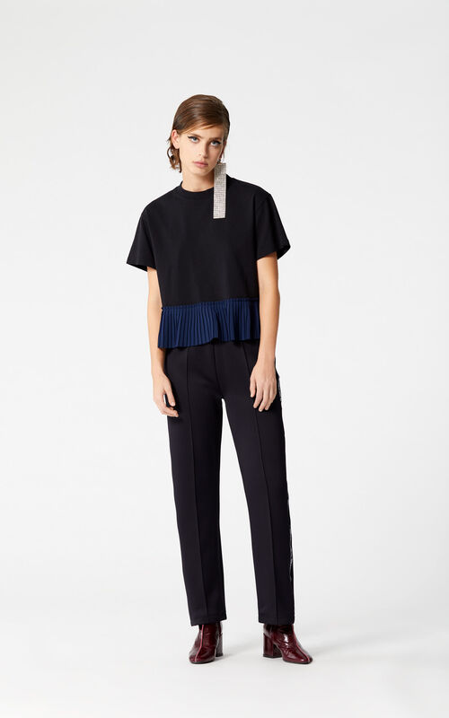 BLACK Short pleated top for women KENZO
