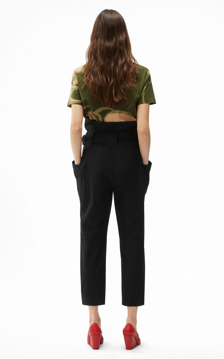 BLACK Cropped paper bag trousers for women KENZO