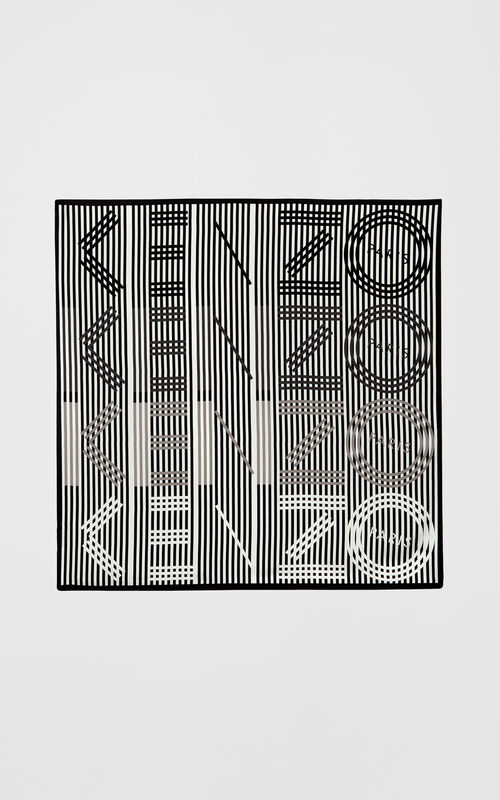 BLACK 'Graphic KENZO' Silk Scarf for unisex