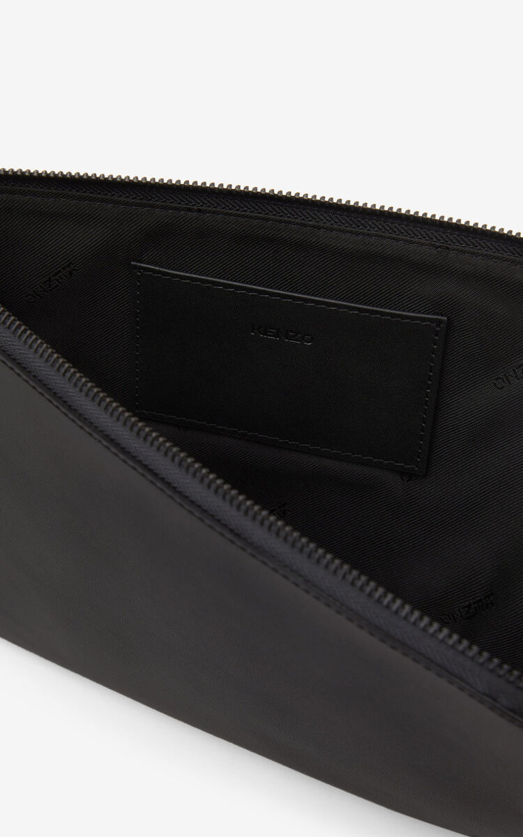 BLACK Tiger Crest large leather clutch for women KENZO