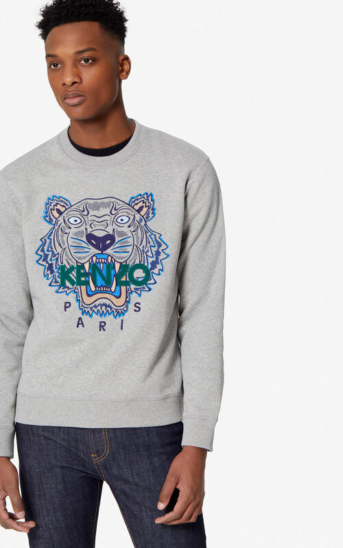a341f5ab5c517 PEARL GREY Tiger sweatshirt for men KENZO ...