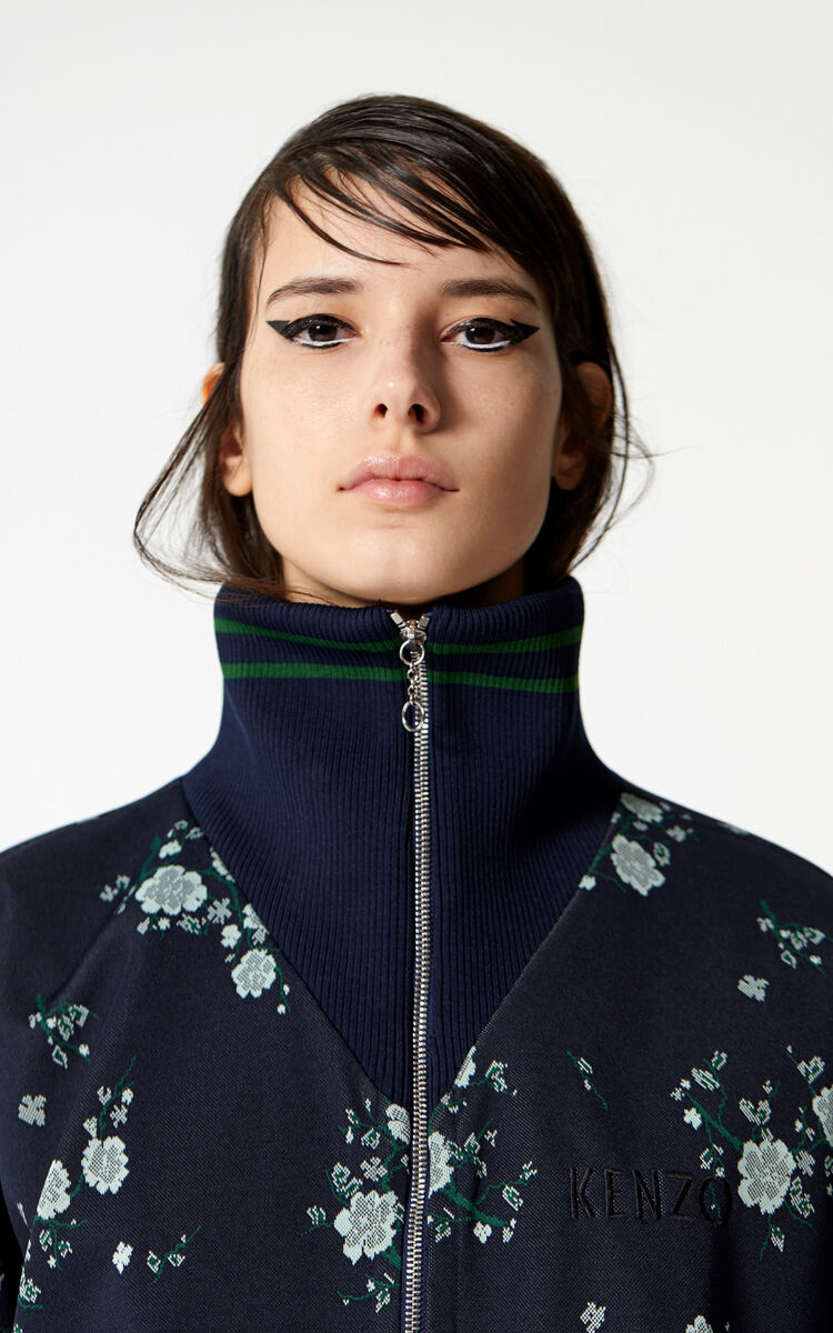 NAVY BLUE 'Cheongsam Flower' zip-up jacket for women KENZO