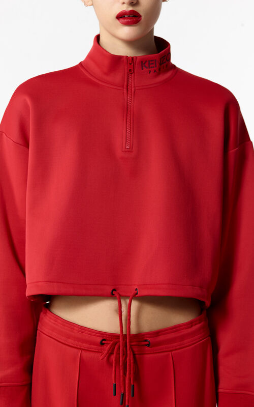 MEDIUM RED Kenzo Logo crop top for women