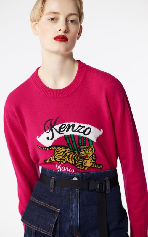 DEEP FUSCHIA 'Bamboo Tiger' boxy jumper for women KENZO