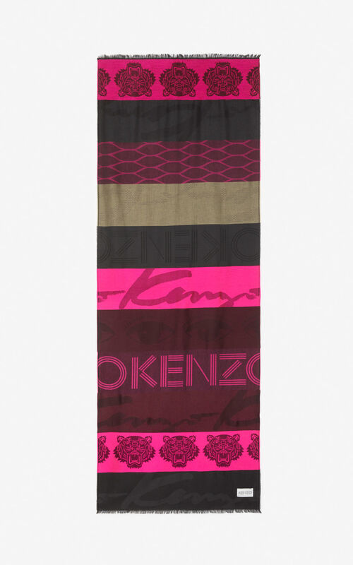 DEEP FUSCHIA Multi Icons scarf for unisex KENZO