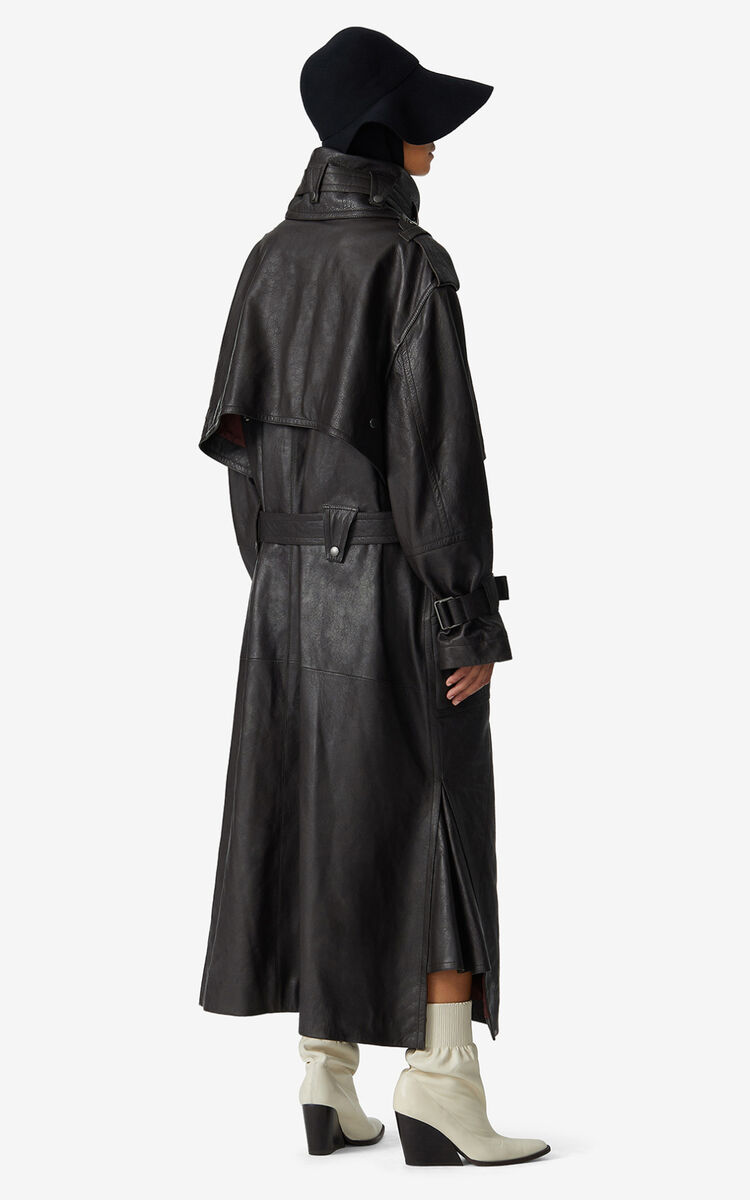 DARK BROWN Leather utility trench coat for women KENZO