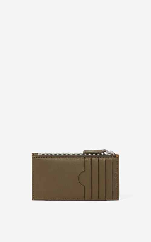 KHAKI KENZO Cadet zipped leather card holder for men