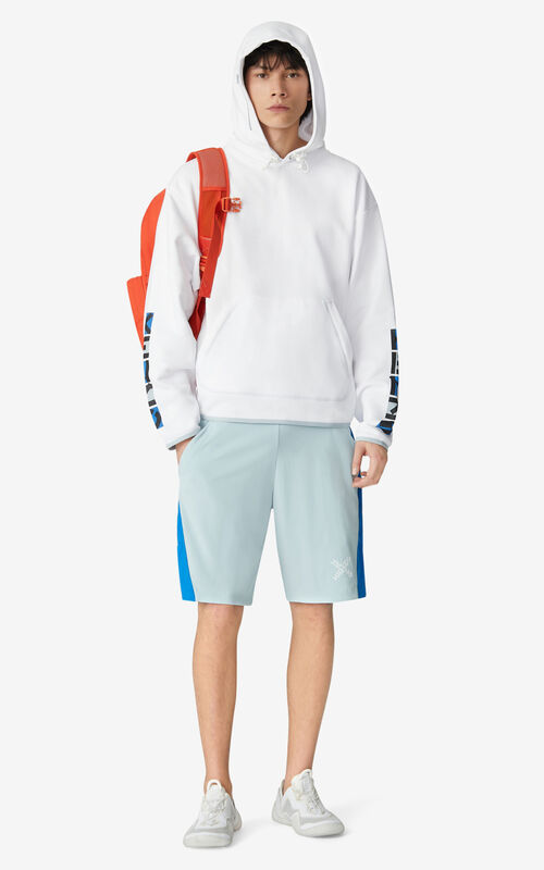 WHITE KENZO Sport hooded oversize sweatshirt for men