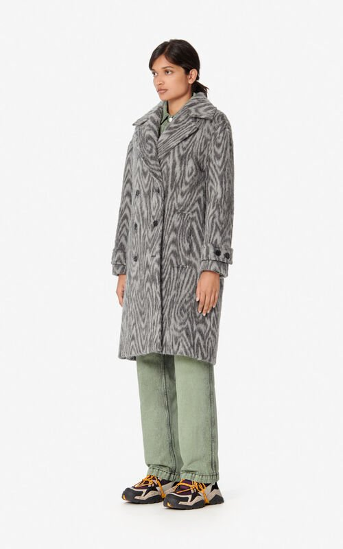 MIDDLE GREY 'Moire Tiger' coat for women KENZO