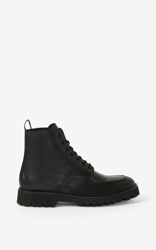 BLACK K-MOUNT laced leather ankle boots  for unisex KENZO