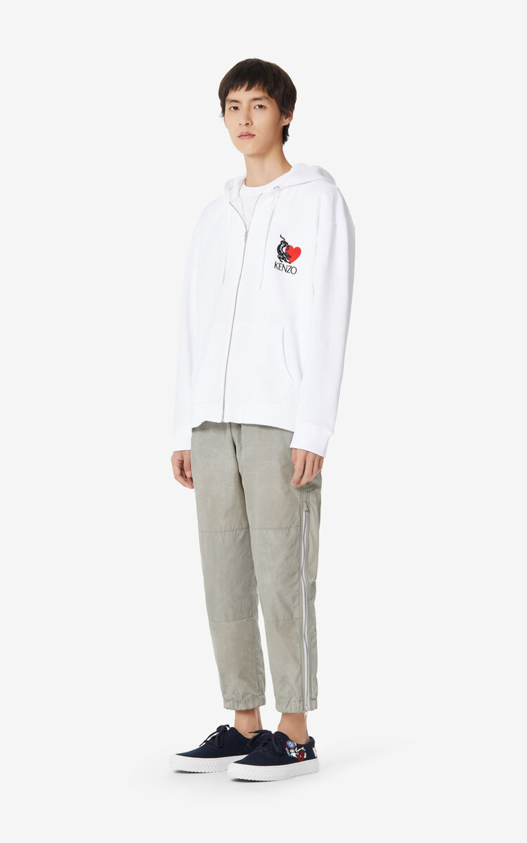 WHITE 'Valentine's Day Capsule' 'Lucky Tiger' zipped sweatshirt for men KENZO