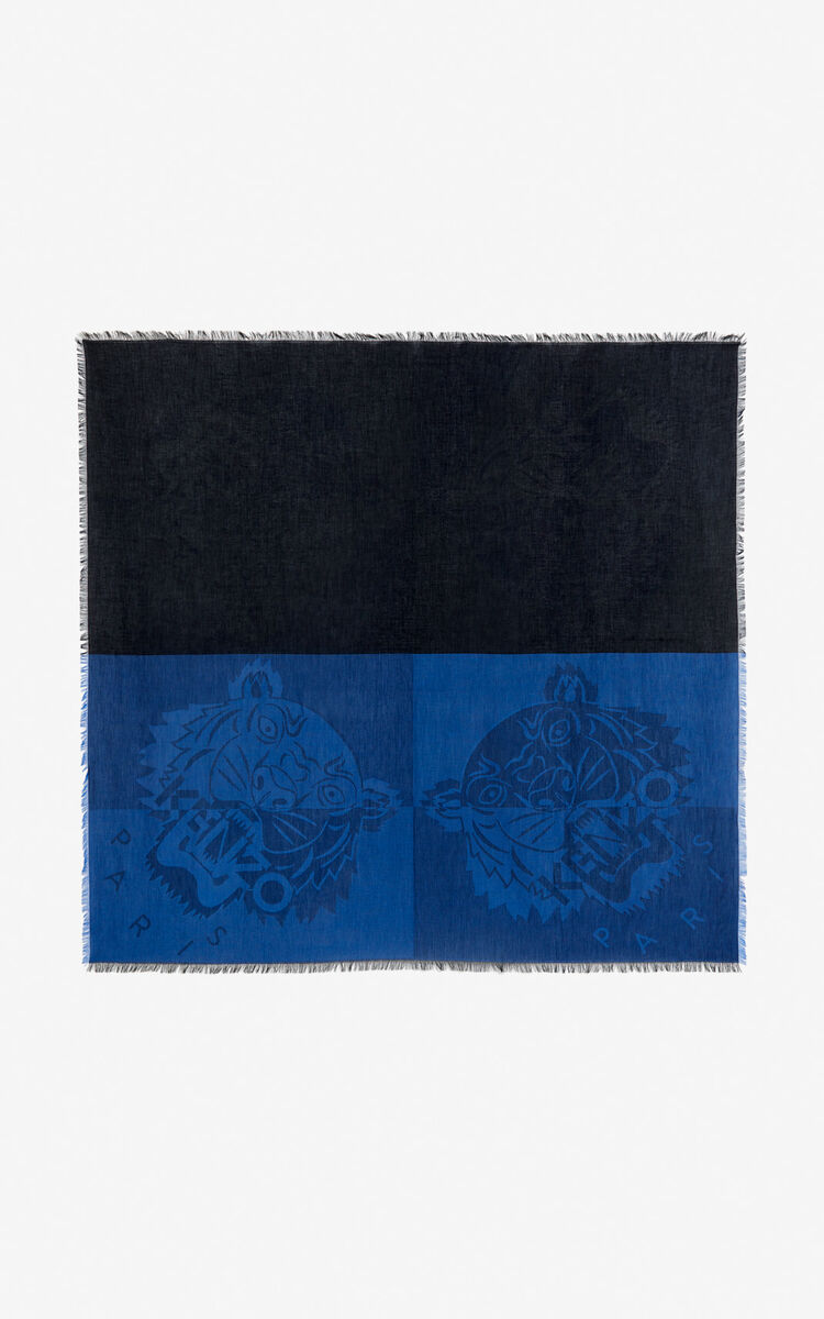 MIDNIGHT BLUE Large two-tone Tiger scarf for unisex KENZO
