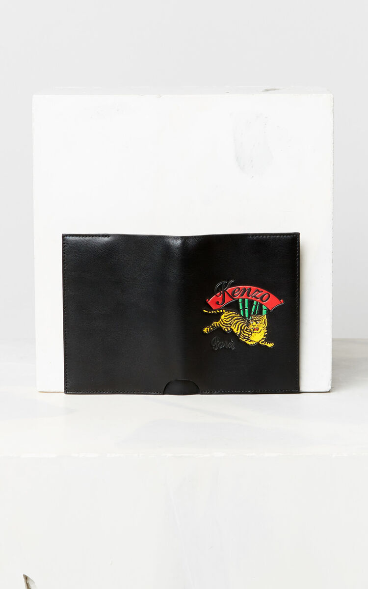 BLACK 'Jumping Tiger' leather passport holder for unisex KENZO